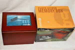 Wooden Photo Box Keepsake Memory Box w/5 Photo Displays-Studio g