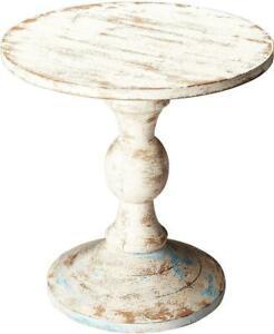 PEDESTAL TABLE DINING SHABBY ELEGANT RUSTIC ARTIFACTS DISTRESSED ACID WASH