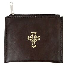 Brown Leather Rosary Case with Celtic Cross (KS211)