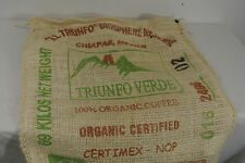 MEXICO Chiapas Organic Green Coffee Bean BURLAP BAG Mountain Wall Art Sack