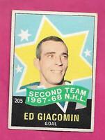 1968-69 OPC # 205 RANGERS ED GIACOMIN AS  GOALIE EX  CARD  (INV# D6738)