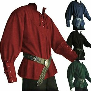 Medieval Renaissance Lace Up Shirt Loose Knight Cosplay Costume  Adult Men Tops