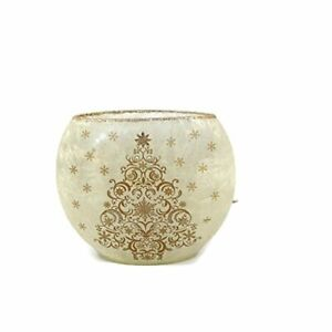 """Stony Creek - Frosted Glass - 7"""" Oval Lighted Vase -  Gold Ornamental Tree"""