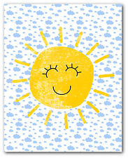 Happy Sun Print, Nursery Clouds Art, 8 x 10 Inches, Unframed