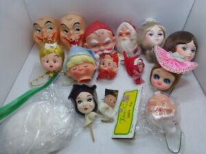 Lot of Vintage Christmas Halloween Doll Heads Pixie Elf Witch Creepy Pose Santa+