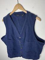 RRL Ralph Lauren X-Large Vest Jacket VTG Distressed Denim Blue Polo XL Hunting