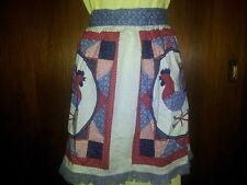 Vintage Rooster quilt like half apron  Kitchen Craft APRON Handmade red blue