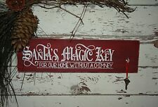 Santa's Claus Magic Key House Without Chimney Rustic Christmas Sign Decoration