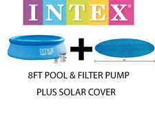 Intex 8ft Easy Set Round Swimming Pool & Pump Filter PADDLING c/w SOLAR COVER