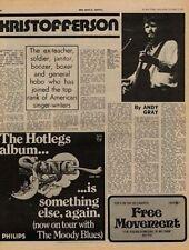 Kris Kristofferson UK Interview + Hotlegs 10cc ad '71