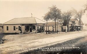 SOCONY RPPC Gas Station and Show Room Delanson NY Postcard