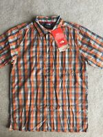 New THE NORTH FACE Outdoor Plaid Oriole Orange Sun Protection UPF50 Shirt S