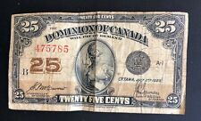 1923 Dominion of Canada Twenty Five 25 Cents Shinplaster B Series Banknote