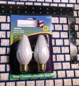 Box of 2 new WHITE FLAME 60w fluted F15 LIGHT bulb E26 swirl flair 60 watt 60F15