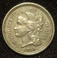 1865 THREE CENT NICKEL PIECE USA 3C TRIME OBSOLETE COIN FOR POSTAGE STAMPS