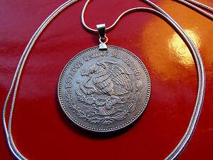 "Mexican Republic Eagle & Snake 20 Peso Coin Pendant  20"" 925 Silver Snake Chain"
