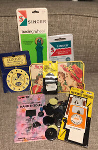 Lot VTG Sewing Supplies Milwards Happy Home Needle Book Buttons Tracing Wheel