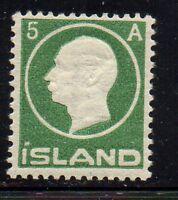 Iceland Sc 92 1912 5 aur green Frederik VIII stamp mint