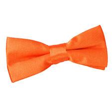DQT Satin Plain Solid Burnt Orange Communion Page Boys Pre-Tied Bow Tie