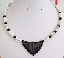 "17"" Handmade Black Agate Bead & Bar and White Howlite Chip Memory Wire Necklace"