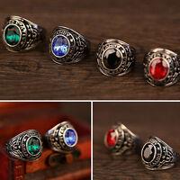 FT- Men's Women's Titanium Steel Band Rhinestone Finger Ring Jewelry Charm Exqui
