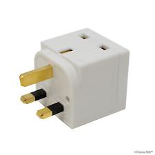 2 en 1Gb 3-pin Enchufe Adaptador Socket Splitter Dos Vías Doble Bloque/Blanco