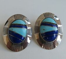 Turquoise & Lapis Big  Navajo sterling silver channel inlay big concho earrings