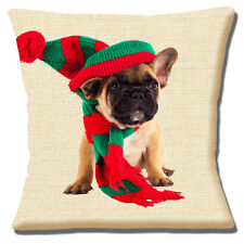 "French BULLDOG Puppy Hat & Scarf PHOTO FAWN BLACK WHITE 16"" Pillow Cushion Cover"