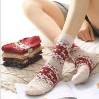 Women Ladies Thick Winter Socks Warm Wool Christmas Nordic Novelty Sock