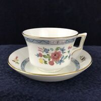 Vintage Wedgwood Bone China MONTCALM Tea Coffee Cup & Saucer Gold Trim Floral