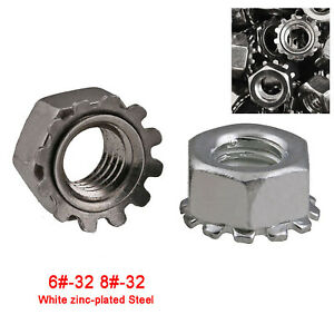 6#-32 8#-32 UNC Bright Zinc Plated Keps K Lock Nut Hex Nuts With Toothed Washer