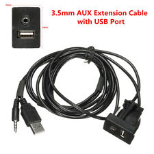 3.5mm AUX Extension Flush Mount USB Headphone Jack Cable Mounting Panel Car Boat