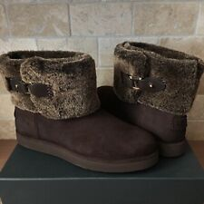 UGG CLASSIC BERGE MINI DARK ROAST SUEDE SHEARLING ANKLE BOOTS SIZE US 9 WOMENS