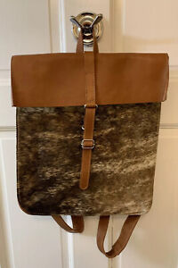 Natural Cowhide Leather Backpack Laptop Bag Brown Tan Custom Hide New