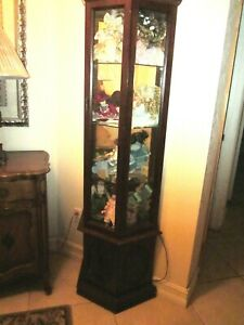 Vintage   Curio Wood and  Glass four Shelves and one door  Shipping not Included