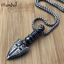 MENDEL Cool Stainless Steel Mens Gothic Arrow Cross Arrowhead Pendant Necklace