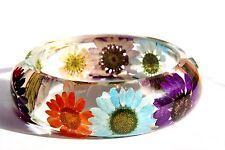Handmade Real Flower Botanical Garden Resin Bangle Bracelet.{47}