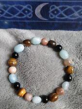 Safe travel crystal healing bead bracelet tigers eye aquamarine moonstone tourma