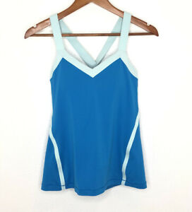 Lululemon Tank Top Size 8 Blue Run Mile A Minute Cross Back Strappy Athletic