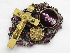 † ANTIQUE GOLD WASH & PURPLE AMETHYST ROSARY & HTF ENAMELED DOUBLE SIDED MEDAL †