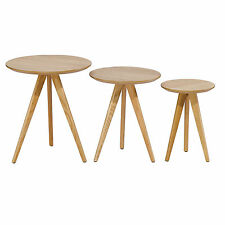 Set of 3 Coffee Tables Scandinavian Retro Home Furniture Style Solid Oak Legs