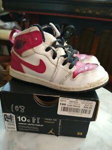 Vintage Jordan 1 Child Size 10c Toddler Purple Fuchsia Color w box has wear