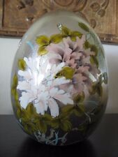 "9"" Large Pewter/Silver Floral Porcelain Egg Beautiful Hand Painted Floral/Bird"