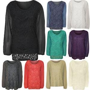 Women's Ladies Plus Size Chiffon Long Sleeve Floral Lace Tunic Tops UK 14-28