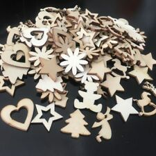 50pcs Christmas Wood Chip Tree Ornaments Hanging Pendant Decoration DIY Crafts