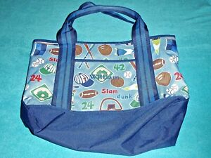 """POTTERY BARN KIDS LARGE BLUE TOTE BAG WITH SPORTS DESIGNS EMBROIDERED """"WILLIAM"""""""