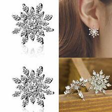 Wedding Bridal Jewelry Silver Snowflake Crystal Rhinestone Ear stud Earrings Hot
