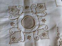 UNUSED Vintage MADEIRA Linen Tablecloth Hand Embroidered Drawnwork 6 Napkins