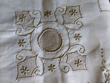 Unused Vintage Madeira Linen Tablecloth Hand Embroidered Drawnwork 6 Napkins