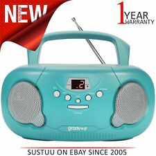Groov-e Original Boombox Portable CD Player│AM/FM Radio│3.5mm Aux-In│PS733│Teal